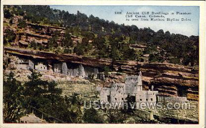 Ancient Cliff Dwellings in Phantom Cliff Canon - Manitou, Colorado CO Postcard