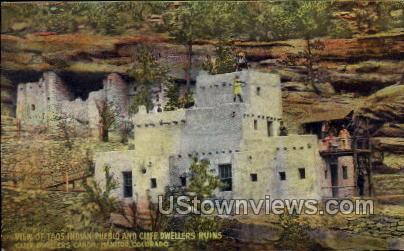 Taos Indian Pueblo and Cliff Dwellers Ruins - Manitou, Colorado CO Postcard