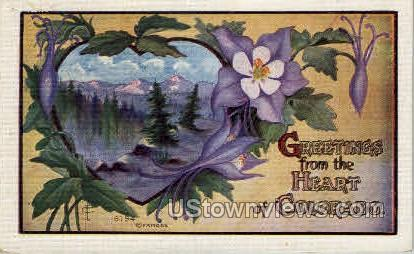 Greetings From the Heart of Colorado - Misc Postcard