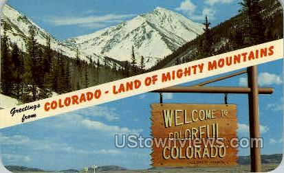 Greetings From Colorado- Land of Mighty Mountains - Misc Postcard
