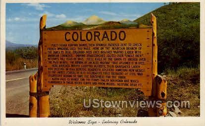Welcome Sign- Entering Colorado - Misc Postcard