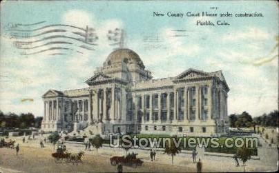 New County Court House undrer Construction - Pueblo, Colorado CO Postcard
