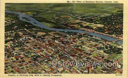Air View of Buisness District - Pueblo, Colorado CO Postcard