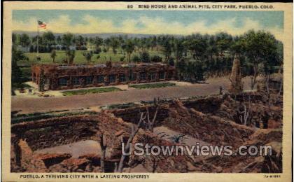 Birds House and Animal Pits, City Park - Pueblo, Colorado CO Postcard