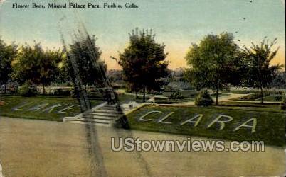 Flower Beds, Mineral Palace Park - Pueblo, Colorado CO Postcard