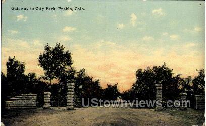 Gateway to City Park - Pueblo, Colorado CO Postcard