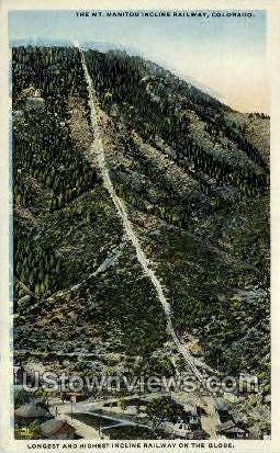 The Mt. Manitou Incline Railway - Colorado CO Postcard