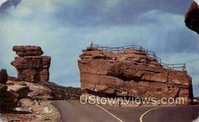 Balanced & Steamboat Rocks - Colorado Springs Postcards, Colorado CO Postcard