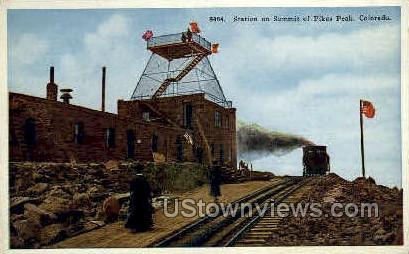 Summit Station, Pikes Peak - Colorado Springs Postcards, Colorado CO Postcard