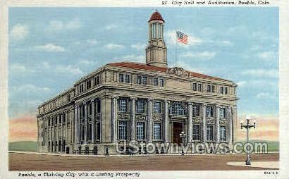 City Hall & Auditorium - Pueblo, Colorado CO Postcard
