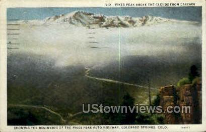 Pikes Peak above the Clouds - Colorado Springs Postcards, Colorado CO Postcard