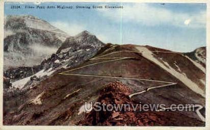 Pikes Peak Auto Highway - Colorado Springs Postcards, Colorado CO Postcard