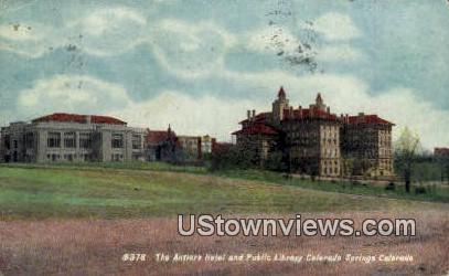 Antlers Hotel, Public Library - Colorado Springs Postcards, Colorado CO Postcard