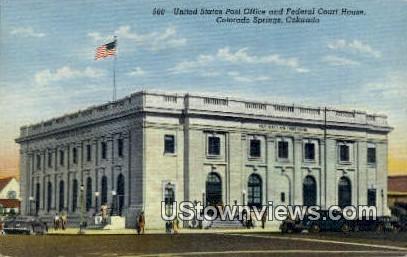US Post Office, Fed Court House - Colorado Springs Postcards, Colorado CO Postcard