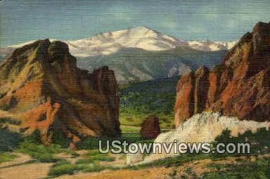 Pikes Peak - Garden of the Gods, Colorado CO Postcard