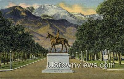 Mounument to  Gen. WM. J. Palmer - Colorado Springs Postcards, Colorado CO Postcard