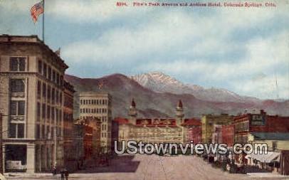 Antlers Hotel, Pike's Peak Ave - Colorado Springs Postcards, Colorado CO Postcard