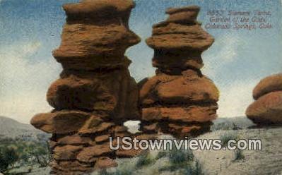 Siamese Twins, Garden of the Gods - Colorado Springs Postcards, Colorado CO Postcard