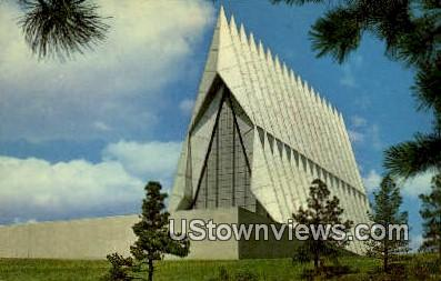 Cadet Chapel, Air Force Academy - Colorado Springs Postcards, Colorado CO Postcard
