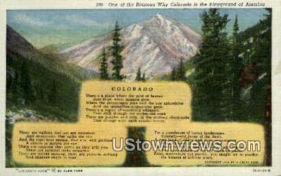 Colorado Poem - Misc Postcard