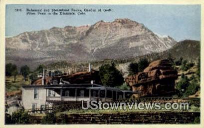 Balanced & Steamboat Rocks - Garden of the Gods, Colorado CO Postcard