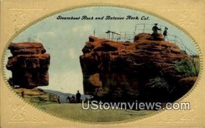 Steamboat Rock, Balance Rock - Garden of the Gods, Colorado CO Postcard