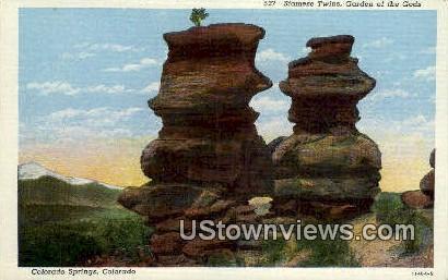 Siamese Twins, Garden of the Gods - Colorado CO Postcard