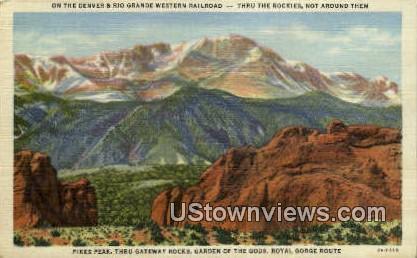 Rio Grande Western Railroad - Garden of the Gods, Colorado CO Postcard