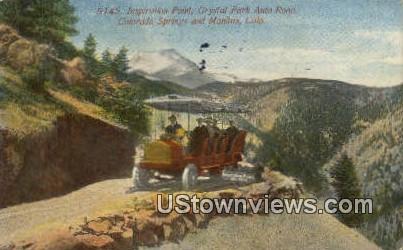 Crystal Park Auto Trip - Colorado Springs Postcards, Colorado CO Postcard