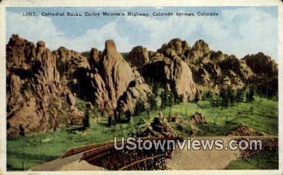Cathedral Rocks - Colorado Springs Postcards, Colorado CO Postcard