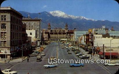 Pikes Peak Ave. - Colorado Springs Postcards, Colorado CO Postcard
