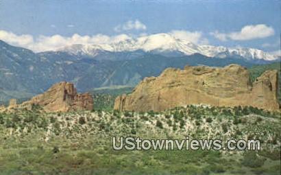 Pikes Peak & Garden of the Gods - Colorado Springs Postcards, Colorado CO Postcard