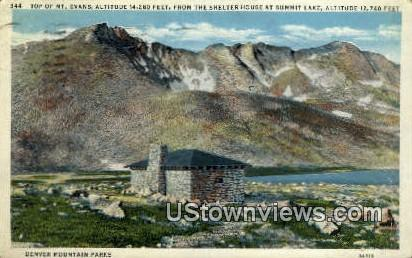 Mt. Evans, Shelter House - Denver Mountain Parks, Colorado CO Postcard