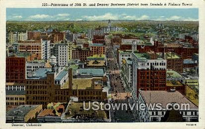 16th Street, Business District - Denver, Colorado CO Postcard