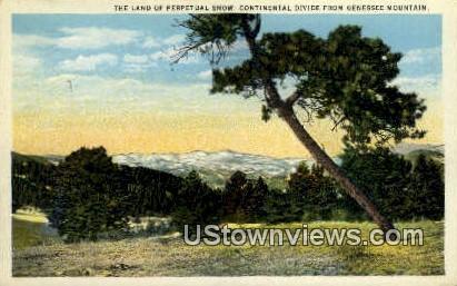 Continental Divide - Genesee Mountain, Colorado CO Postcard