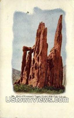 Ruins of Montezuma's Temple - Garden of the Gods, Colorado CO Postcard