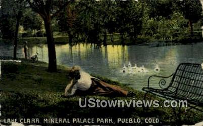Lake Clara, Mineral Palace Park - Pueblo, Colorado CO Postcard