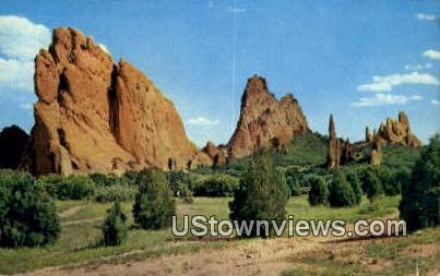 Odd Rock Formations - Garden of the Gods, Colorado CO Postcard
