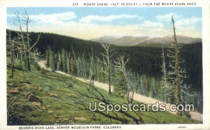 Mount Evans, Echo Lake - Denver Mountain Parks, Colorado CO Postcard