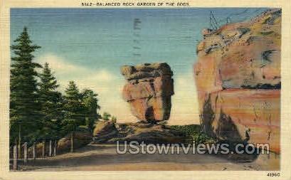 Balanced Rock Garden of the Gods  - Woodmen Park, Colorado CO Postcard