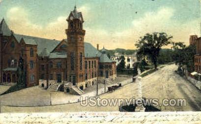 City Hall & West St. - Danbury, Connecticut CT Postcard