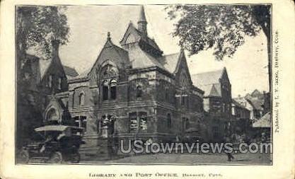 Library & Post Office - Danbury, Connecticut CT Postcard