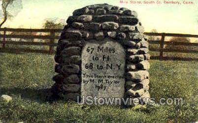 Mile Stone - Danbury, Connecticut CT Postcard