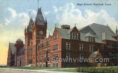 High School - Hartford, Connecticut CT Postcard