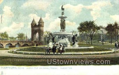 Soldiers Arch & Corning Fountain - Hartford, Connecticut CT Postcard
