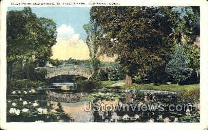 Lilly Pond & Bridge, Elizabeth Park - Hartford, Connecticut CT Postcard