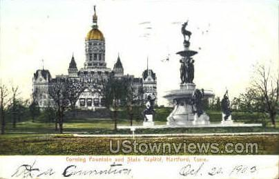 Corning Fountain & State Capitol - Hartford, Connecticut CT Postcard