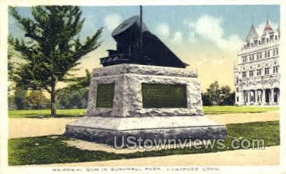 Memorial Gun, Bushnell Park - Hartford, Connecticut CT Postcard