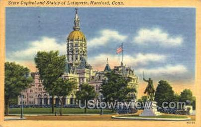 Statue of Lafayette - Hartford, Connecticut CT Postcard