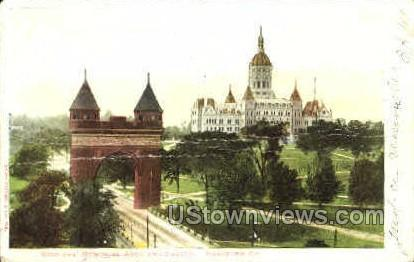 Soldiers Memorial Arch & Capitol - Hartford, Connecticut CT Postcard